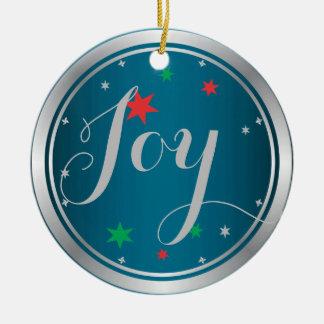 Elegant Silver Joy Christmas Ornament:Blue
