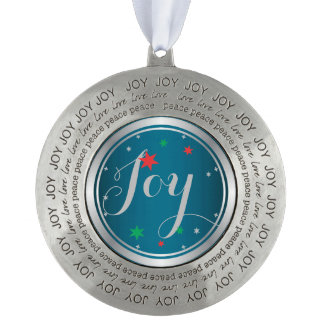 Elegant Silver Joy Christmas Ornament:Blue Round Pewter Decoration