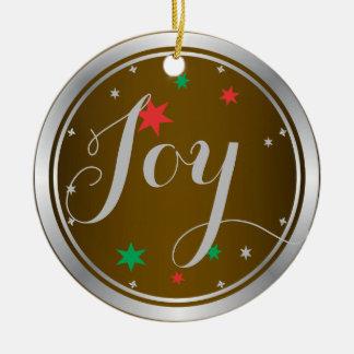 Elegant Silver Joy Christmas Ornament:Golden Brown Round Ceramic Decoration