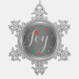 Elegant Silver Joy Christmas Ornament:Gray Pewter Snowflake Decoration