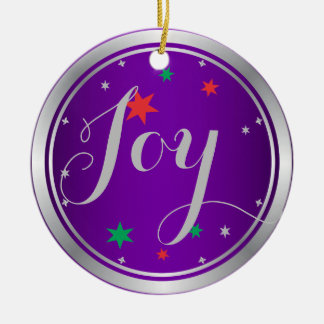 Elegant Silver Joy Christmas Ornament:Purple