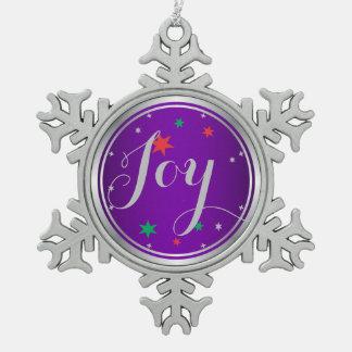 Elegant Silver Joy Christmas Ornament:Purple Pewter Snowflake Decoration