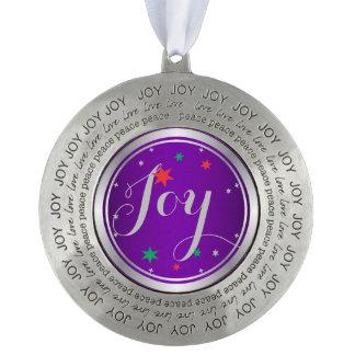 Elegant Silver Joy Christmas Ornament:Purple Round Pewter Decoration