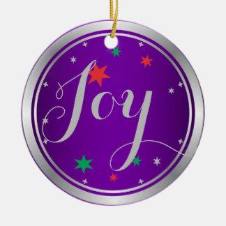 Elegant Silver Joy Christmas Ornament:Purple Round Ceramic Decoration