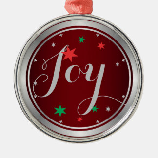 Elegant Silver Joy Christmas Ornament:Red Silver-Colored Round Decoration