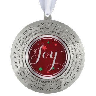 Elegant Silver Joy Christmas Ornament:Red Round Ornament