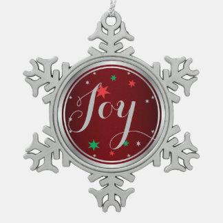 Elegant Silver Joy Christmas Ornament:Red Pewter Snowflake Decoration