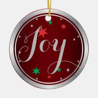 Elegant Silver Joy Christmas Ornament:Red Round Ceramic Decoration