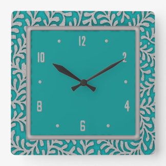Elegant Silver Leaves Floral Wall Clock
