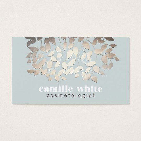 Elegant Silver Leaves Light Blue Business Card