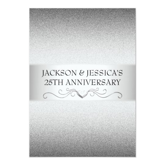 Elegant Silver Love Hearts 25th Anniversary Party Card