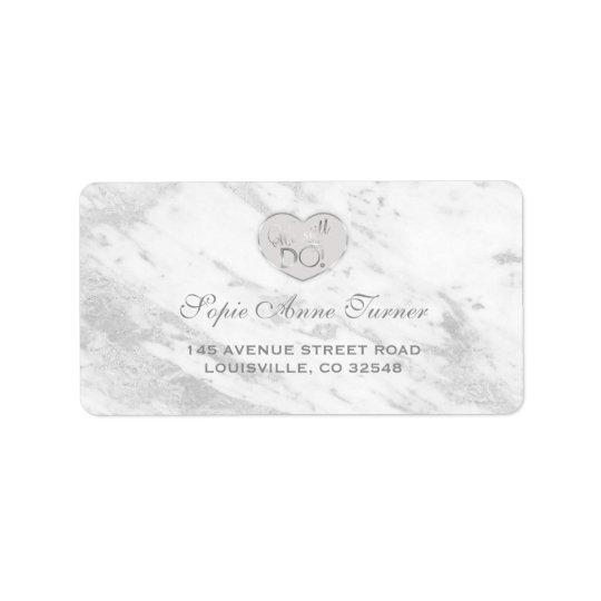 Elegant Silver Marble We stll DO Renew the Vows Address Label