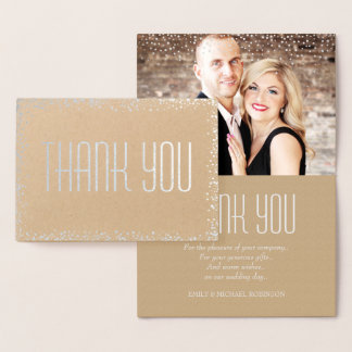 Elegant silver photo thank you foil card