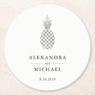 Elegant Silver Pineapple Wedding Round Paper Coaster