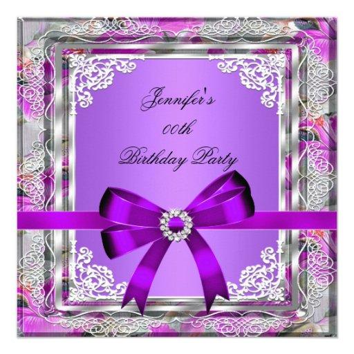 Elegant Silver Purple Mauve Jewel Birthday Party Custom Announcements ...