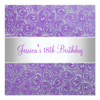 Elegant Silver Purple Paisley Party Invitation