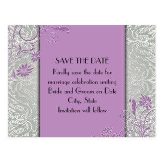 Elegant Silver/Purple Swirls Damask Save the date Post Cards