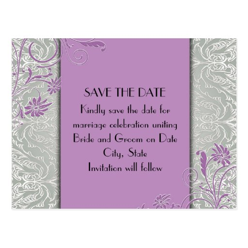 Elegant Silver/Purple Swirls Damask Save the date Post Cards