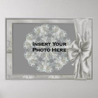 Elegant Silver Satin Bow Photo Template Poster