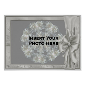 Elegant Silver Satin Bow Your Photo Poster