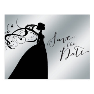 Elegant Silver Save the Date with Bride Postcard