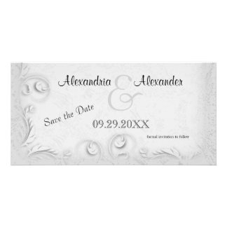 Elegant Silver Scrollwork Save The Date Reminder Personalised Photo Card