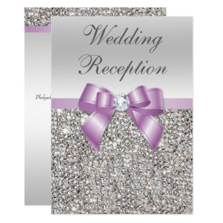 Elegant Silver Sequins Lilac Bow Wedding Reception Card