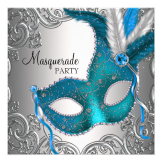 Elegant Silver Teal Blue Masquerade Party Invite
