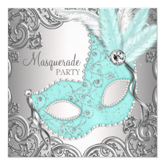 Elegant Silver Teal Blue Masquerade Party 5.25x5.25 Square Paper Invitation Card