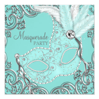 Elegant Silver Teal Blue Masquerade Party Personalized Announcement