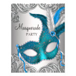 Elegant Silver Teal Blue Masquerade Party Personalized Announcements