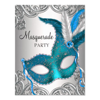 Elegant Silver Teal Blue Masquerade Party 4.25x5.5 Paper Invitation Card