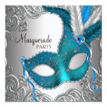 Elegant Silver Teal Blue Masquerade Party Invite