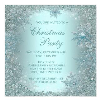 Elegant Silver Teal Blue Snowflake Christmas Party 13 Cm X 13 Cm Square Invitation Card