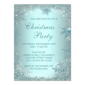Elegant Silver Teal Blue Snowflake Christmas Party 17 Cm X 22 Cm Invitation Card
