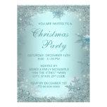 Elegant Silver Teal Blue Snowflake Christmas Party Custom Invitations