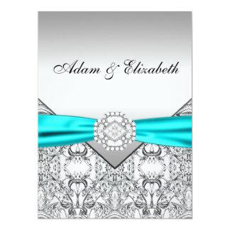 "Elegant Silver Teal Blue Wedding Invitations 6.5"" X 8.75"" Invitation Card"