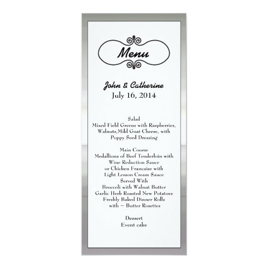 Elegant Silver Tone Framed Wedding Table Menu Card