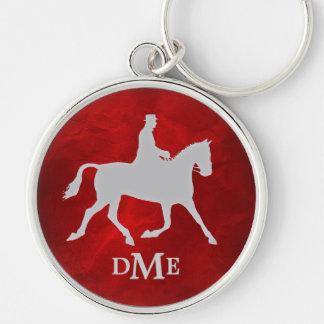 Elegant Silver Vintage Equestian Monogram Key Ring