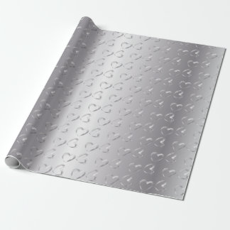 Elegant Silver Wedding Hearts Wrapping Paper