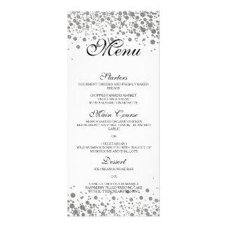 Elegant silver Wedding Menu Rack Card