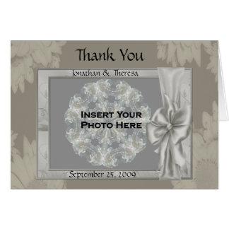 Elegant Silver Wedding Photo Thank You Card #2