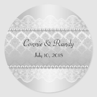 Elegant Silver Wedding Sticker Monogram with Pearl