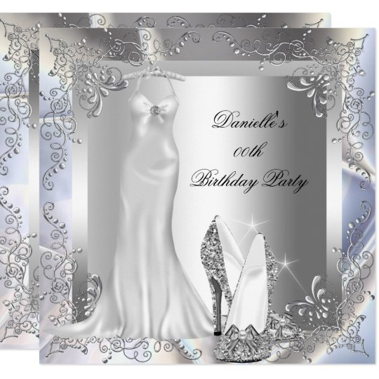 Elegant Silver White High Heel Shoe Birthday Party