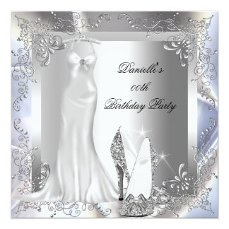 Elegant Silver White High Heel Shoe Birthday Party Card
