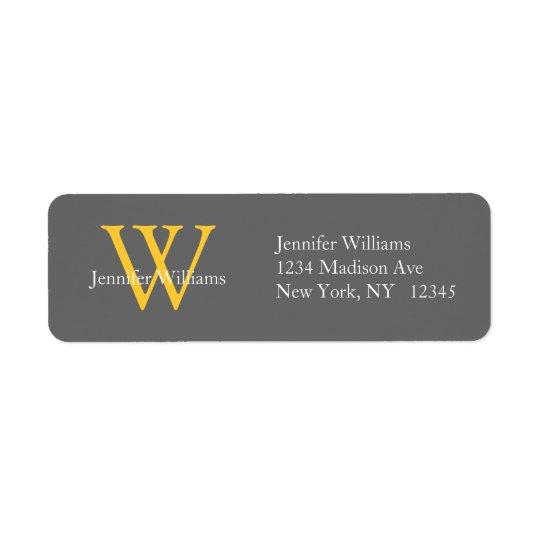 Elegant Simple Address Labels Grey Yellow Initial