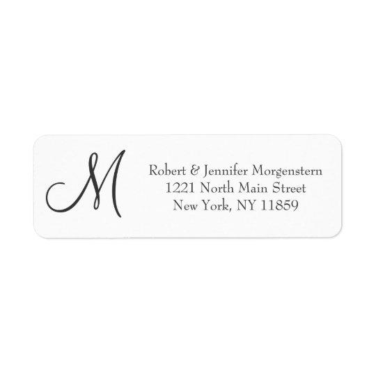 Elegant Simple Black and White Monogram Address