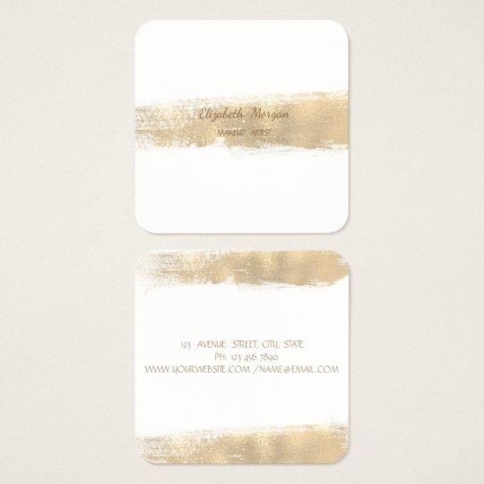 Elegant Simple Faux Gold Foil Brush Stroke,White Square