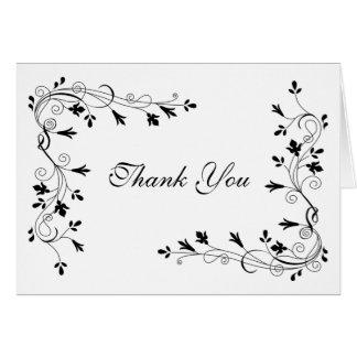 Elegant Simple Floral Flower Vine Border Thank You Greeting Card