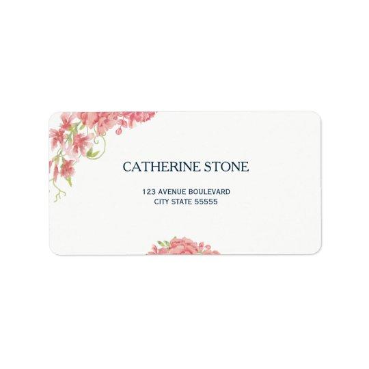 Elegant simple floral peonies white navy wedding label